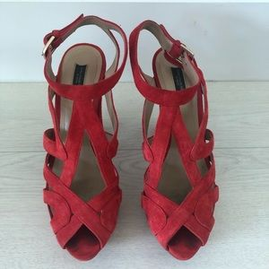 Zara red suede strappy platform chunky heel